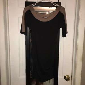 Black and brown fitted dress